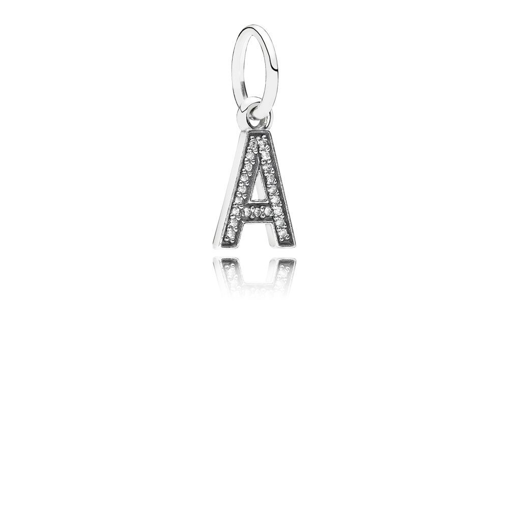 Letter A silver dangle with cubic zirconia