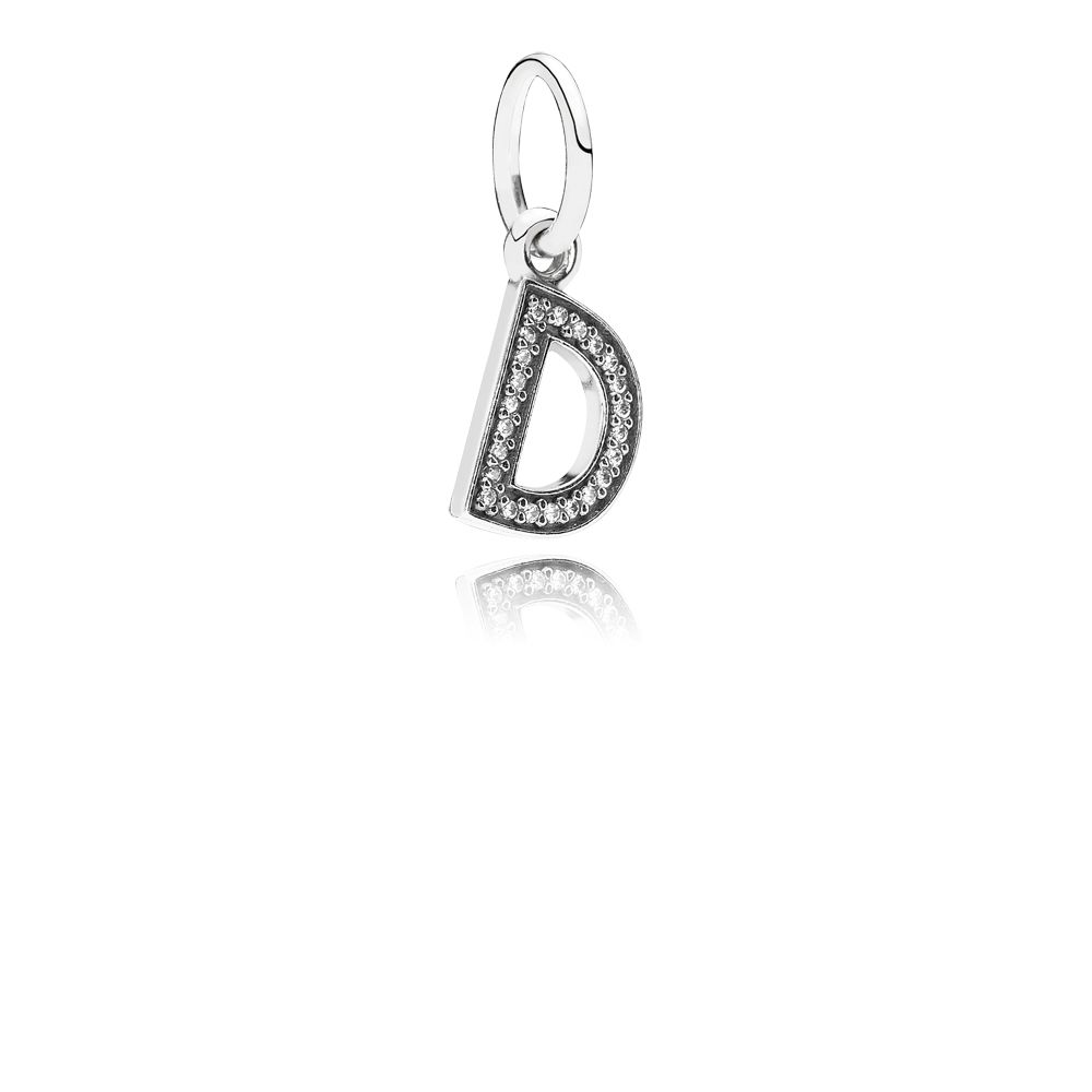 Letter D silver dangle with cubic zirconia
