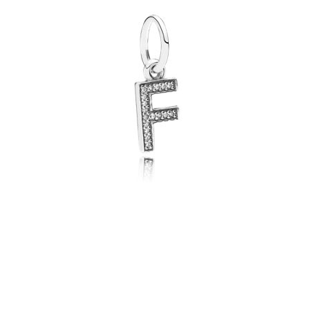 Pandora Letter F silver dangle with cubic zirconia