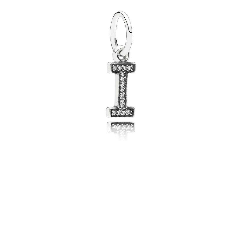 Letter I silver dangle with cubic zirconia