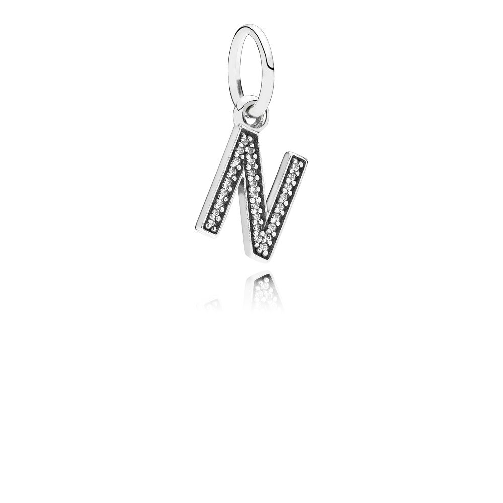 Letter N silver dangle with cubic zirconia