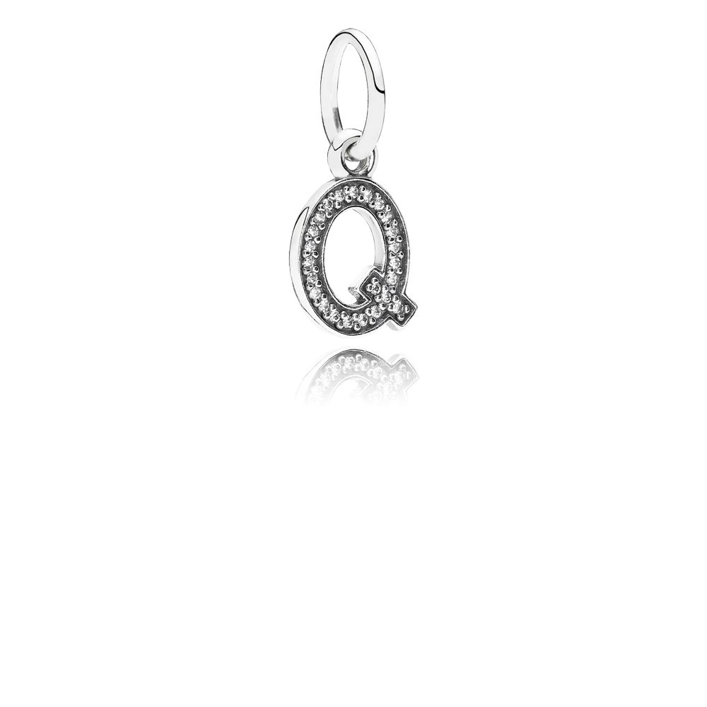 Letter Q silver dangle with cubic zirconia