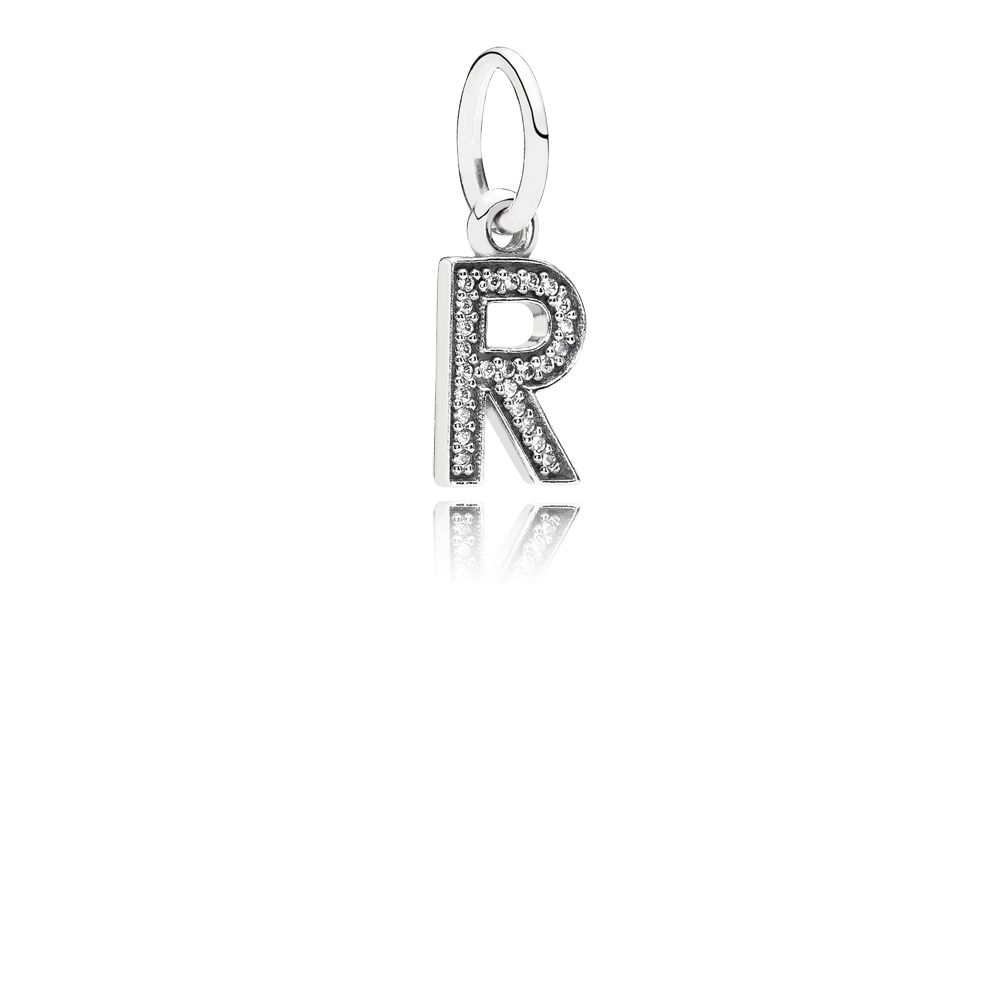 Letter R silver dangle with cubic zirconia