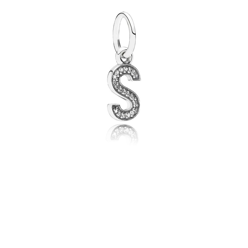 Letter S silver dangle with cubic zirconia