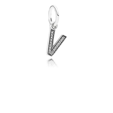 Pandora Letter V silver dangle with cubic zirconia