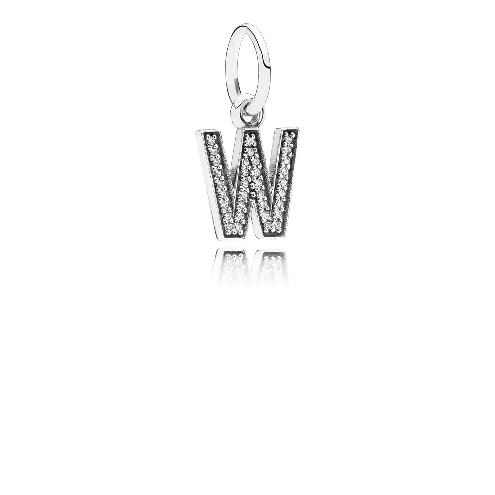 Letter W silver dangle with cubic zirconia