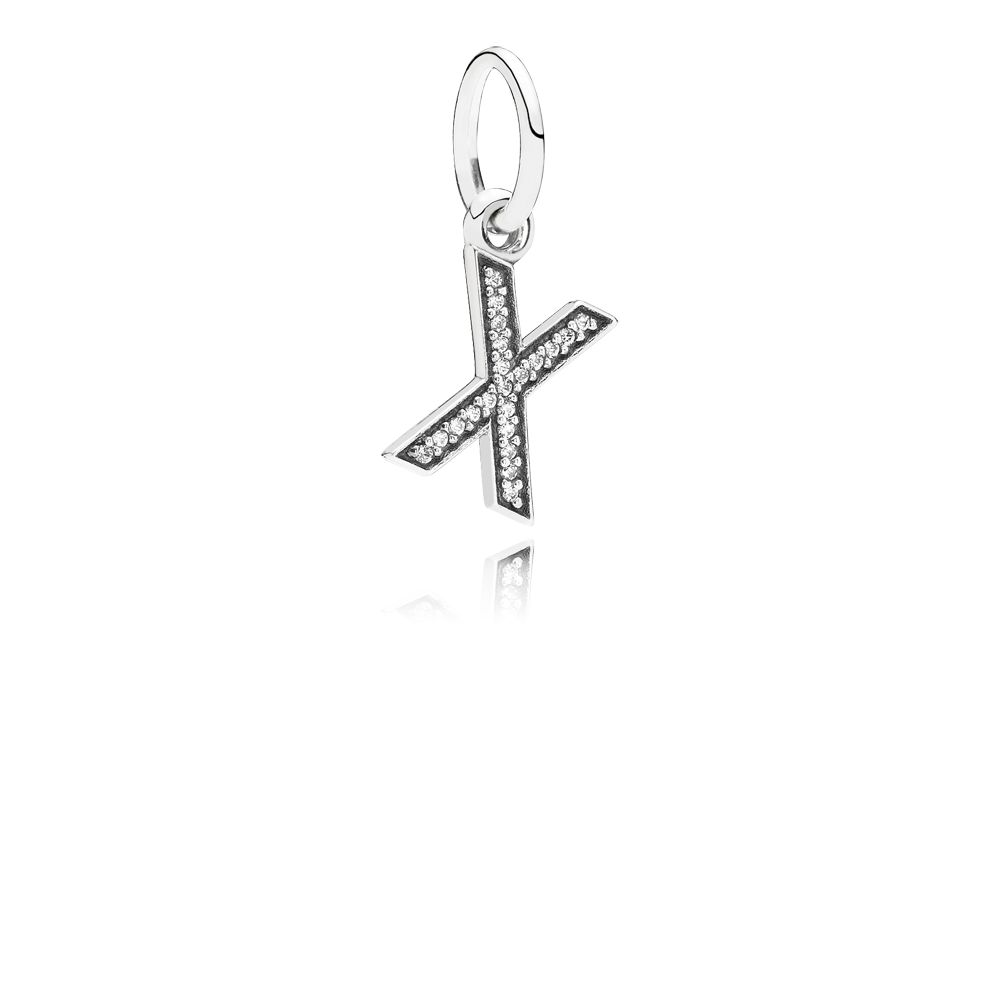Letter X silver dangle with cubic zirconia