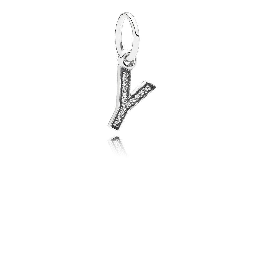 Letter Y silver dangle with cubic zirconia