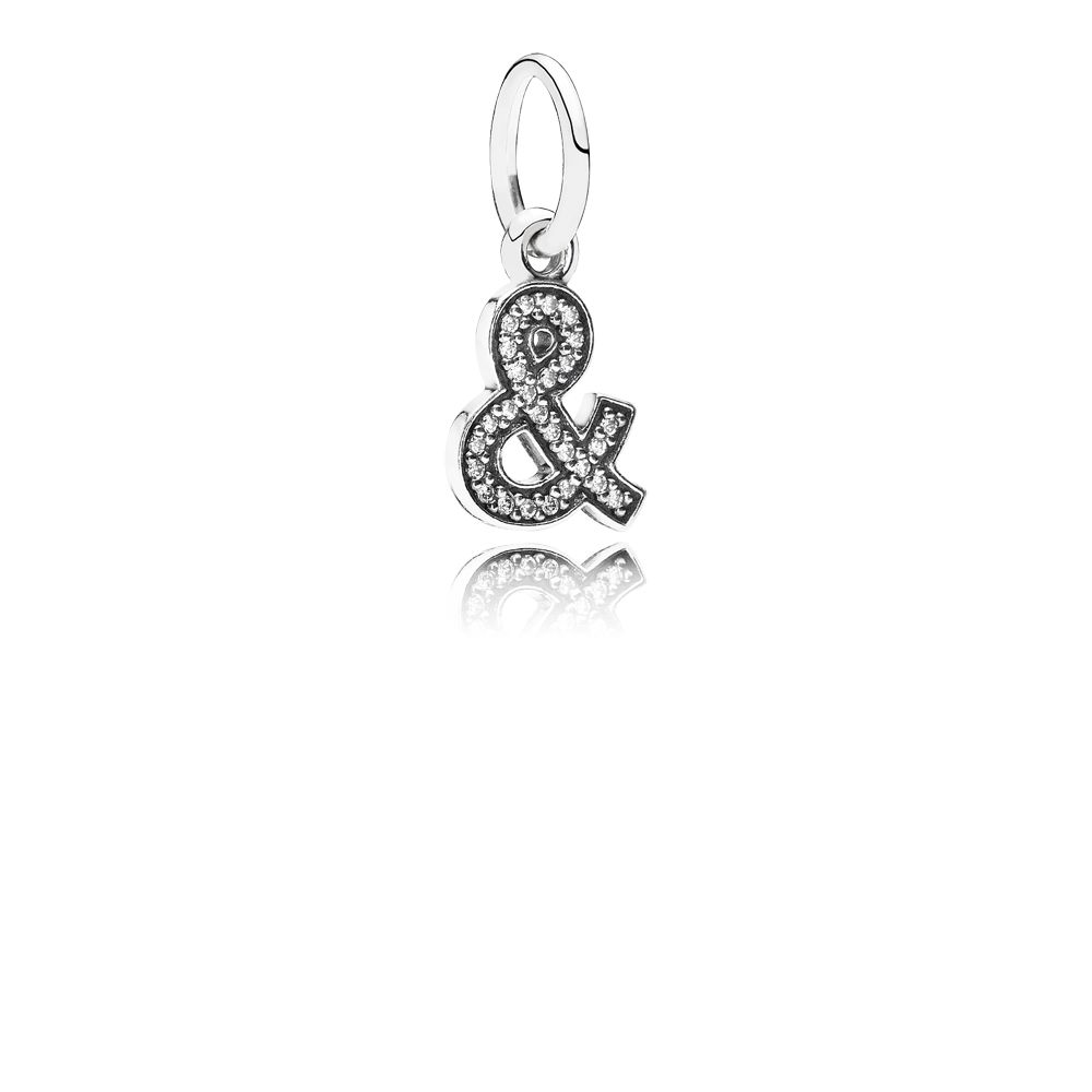 & sign silver dangle with cubic zirconia
