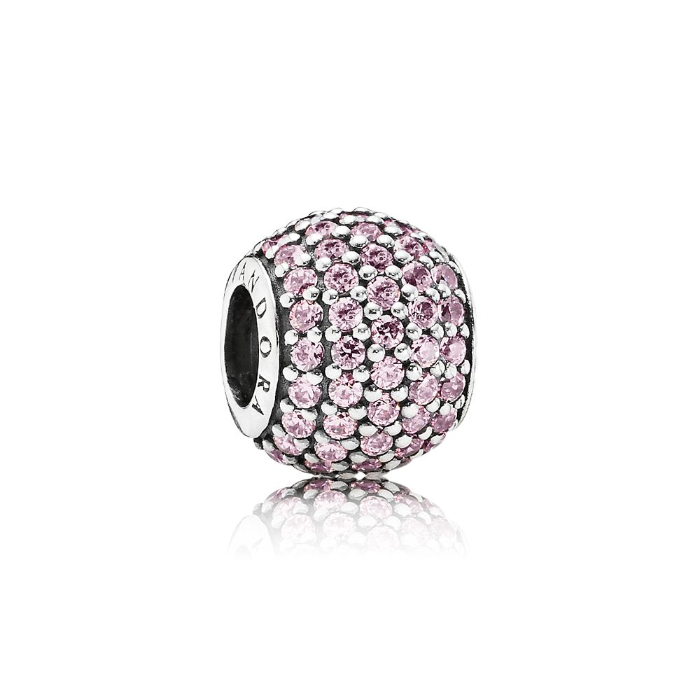 Abstract pink  silver pave charm