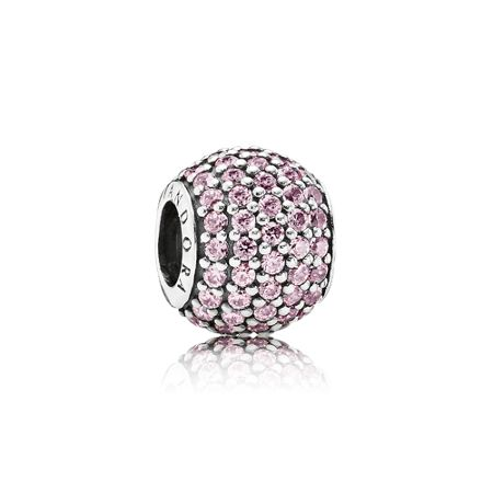 Pandora Abstract pink  silver pave charm