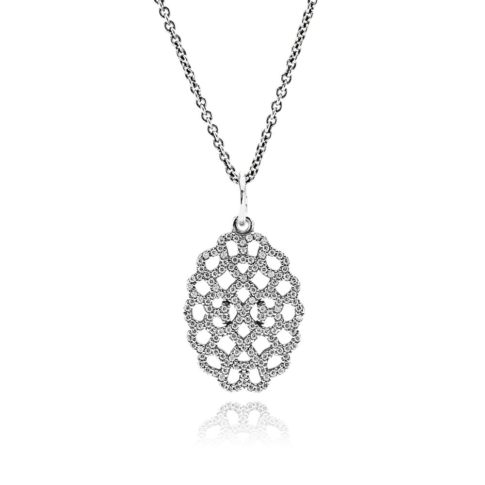Lace cubic zirconia silver pendant necklace