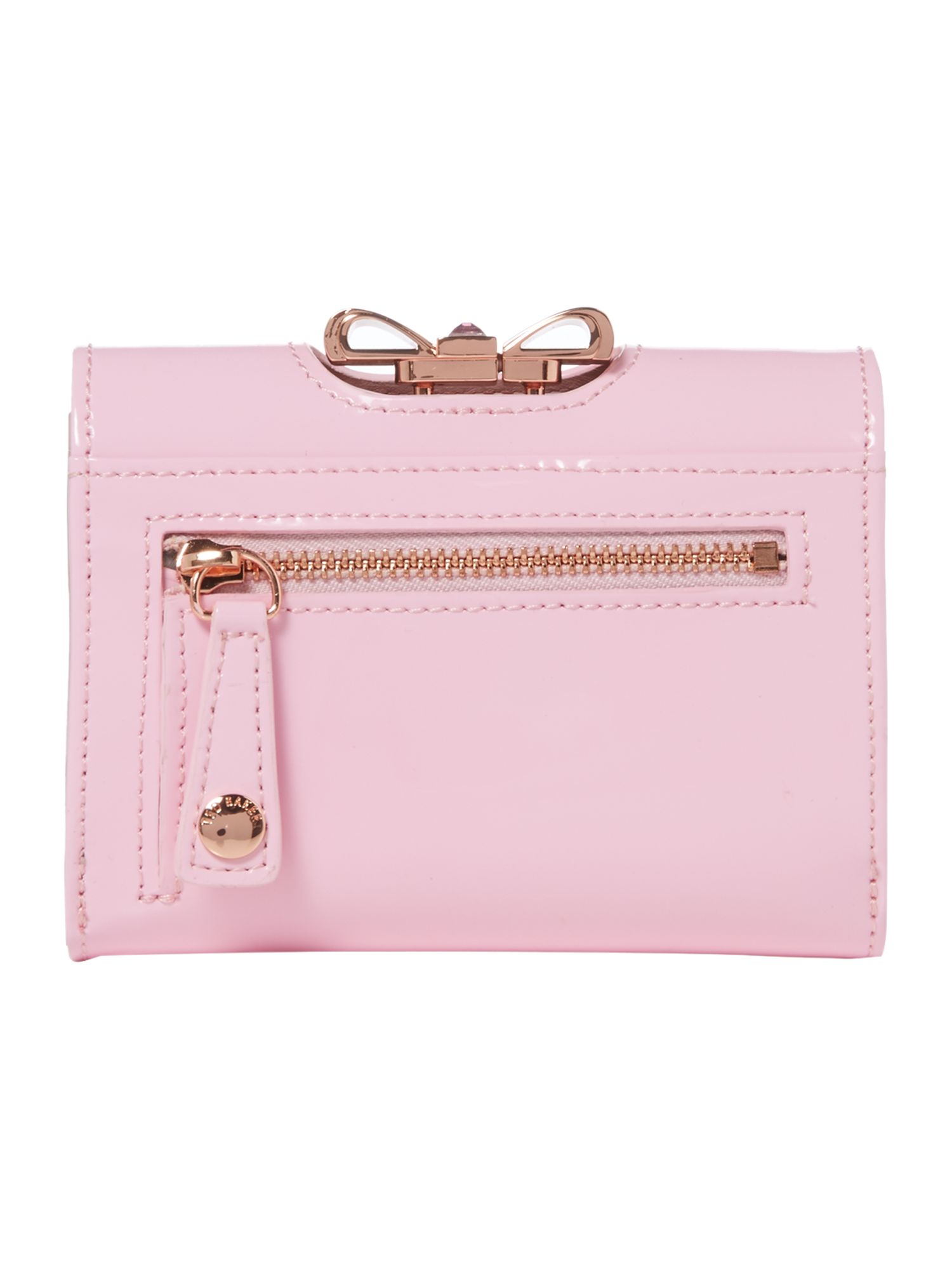 Pale pink small crystal bow flapover purse