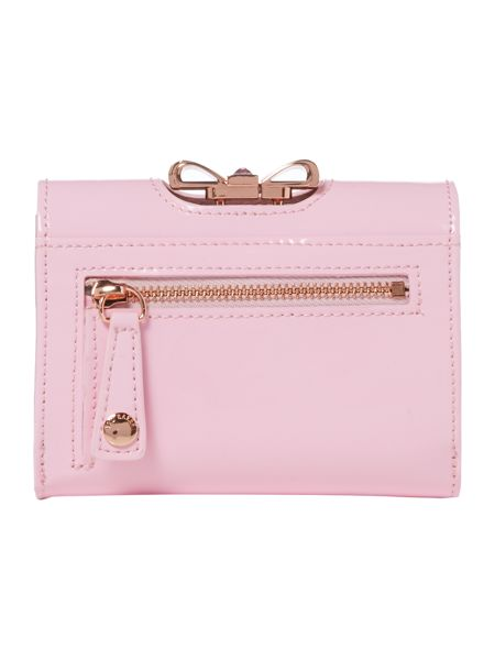 Ted Baker Pale pink small crystal bow flapover purse
