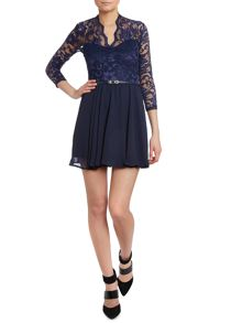 Lace top skater skirt dress