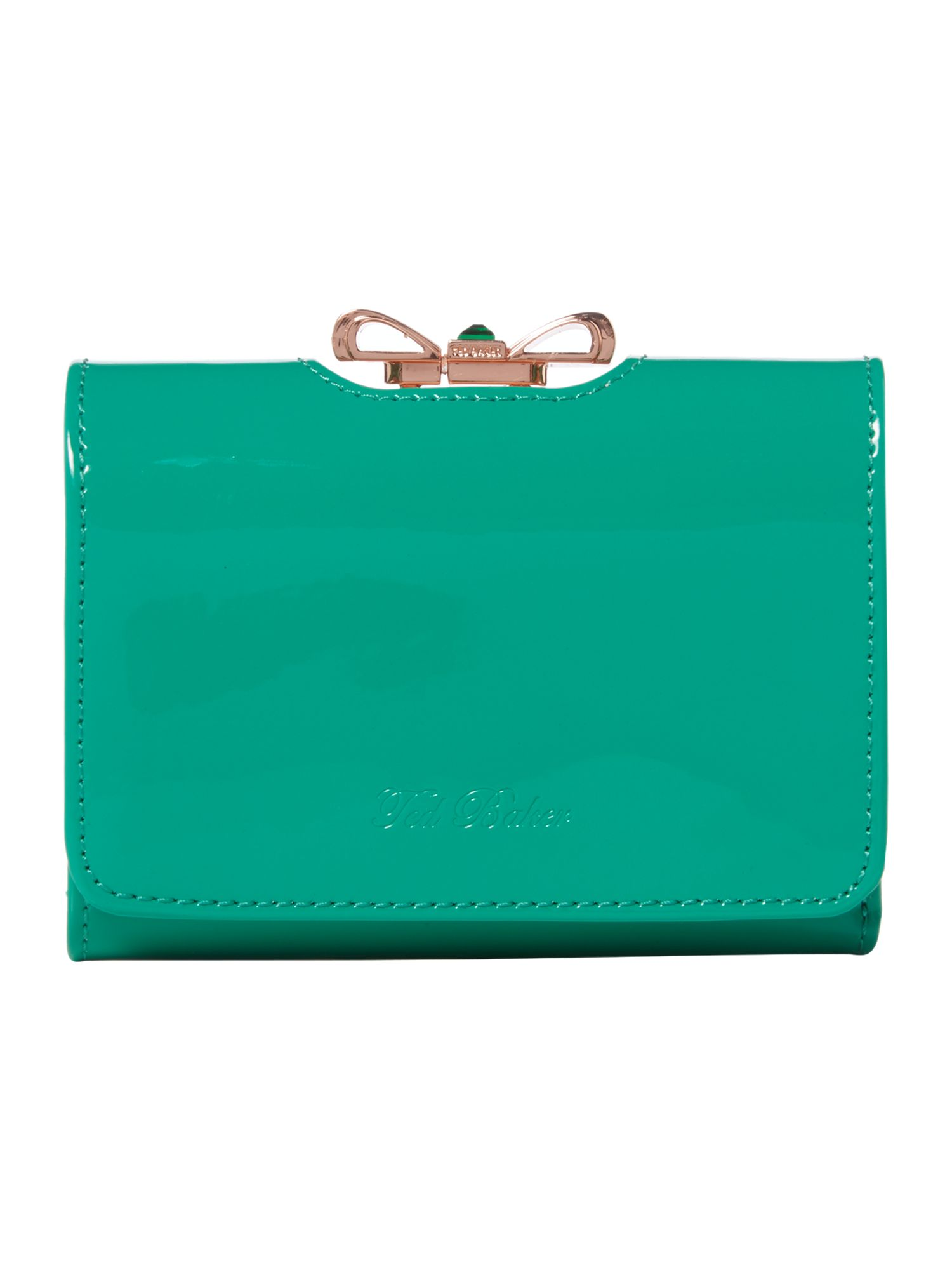 Green small crystal bow flapover purse
