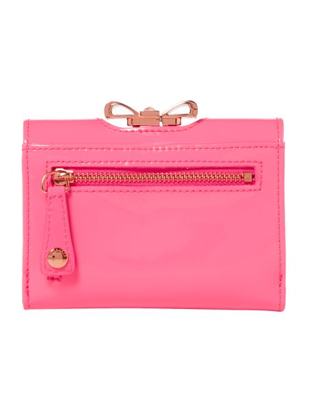 Ted Baker Pale pink crystal bow flapover purse