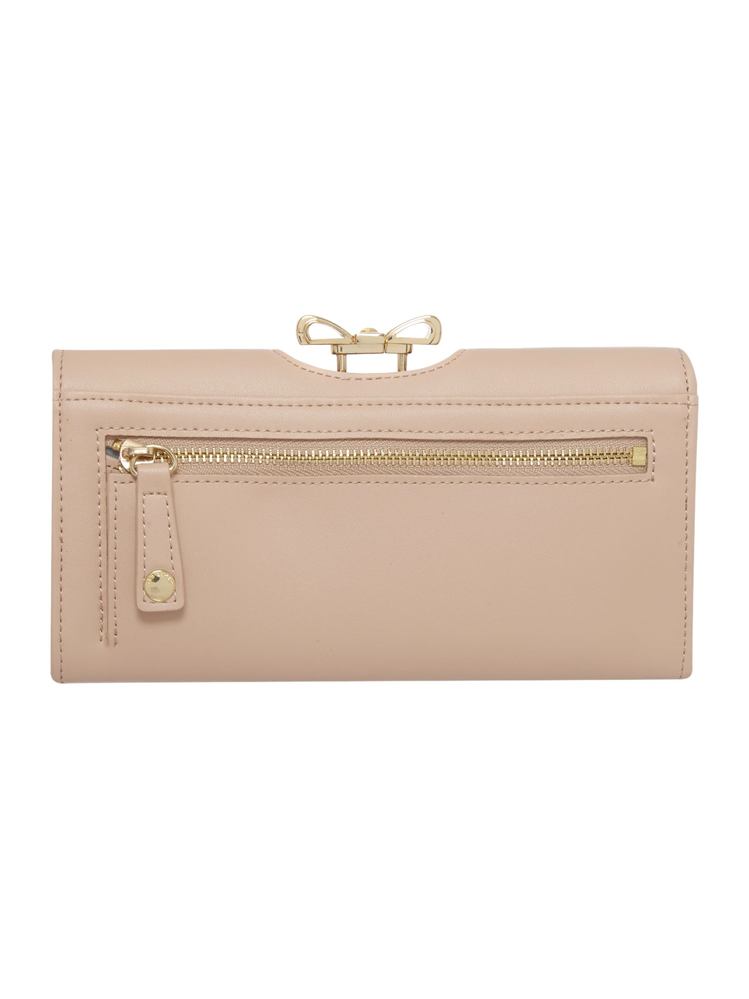 Taupe crystal bow leather matinee purse