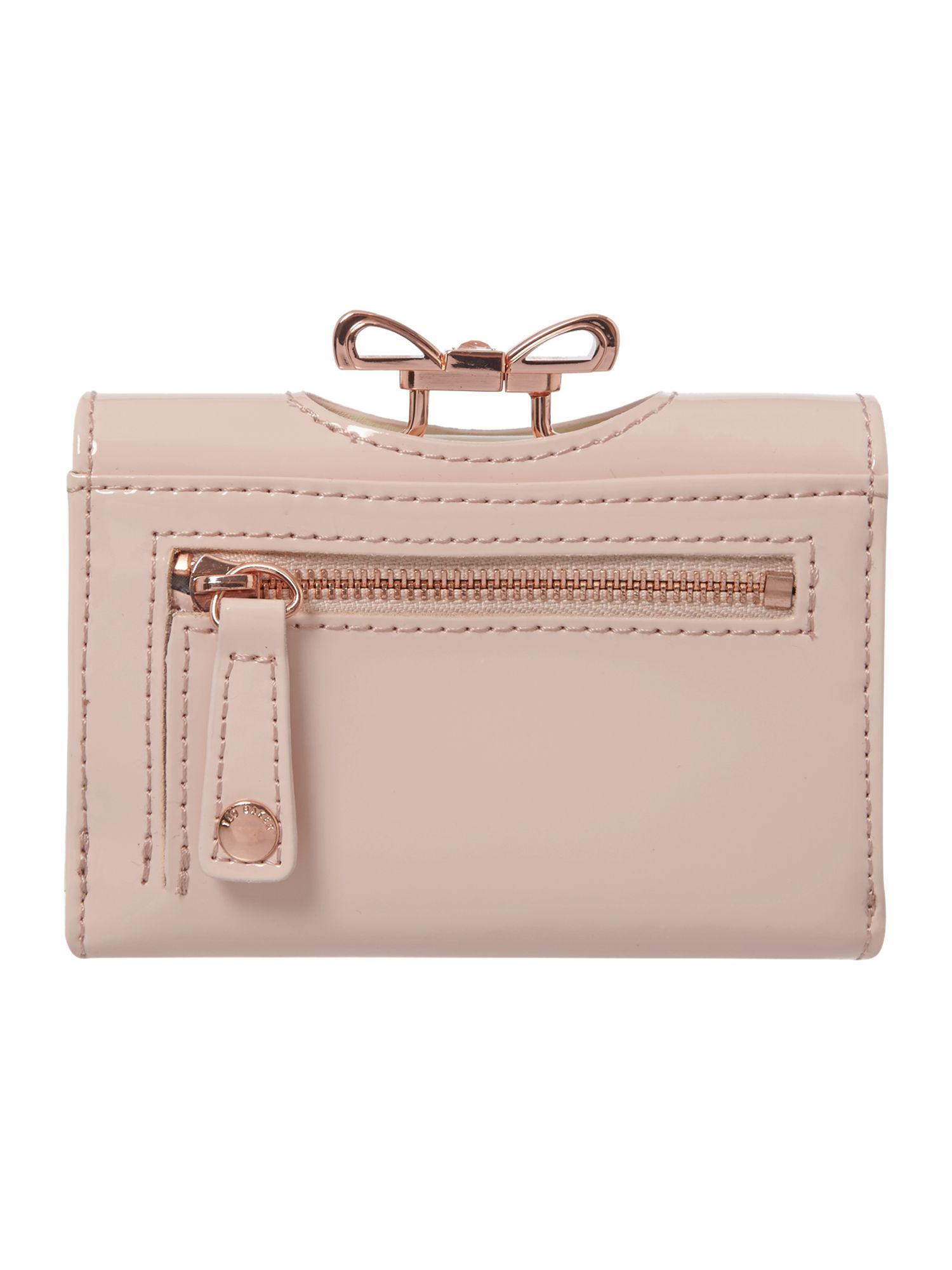 Nude small crystal bobble flapover purse