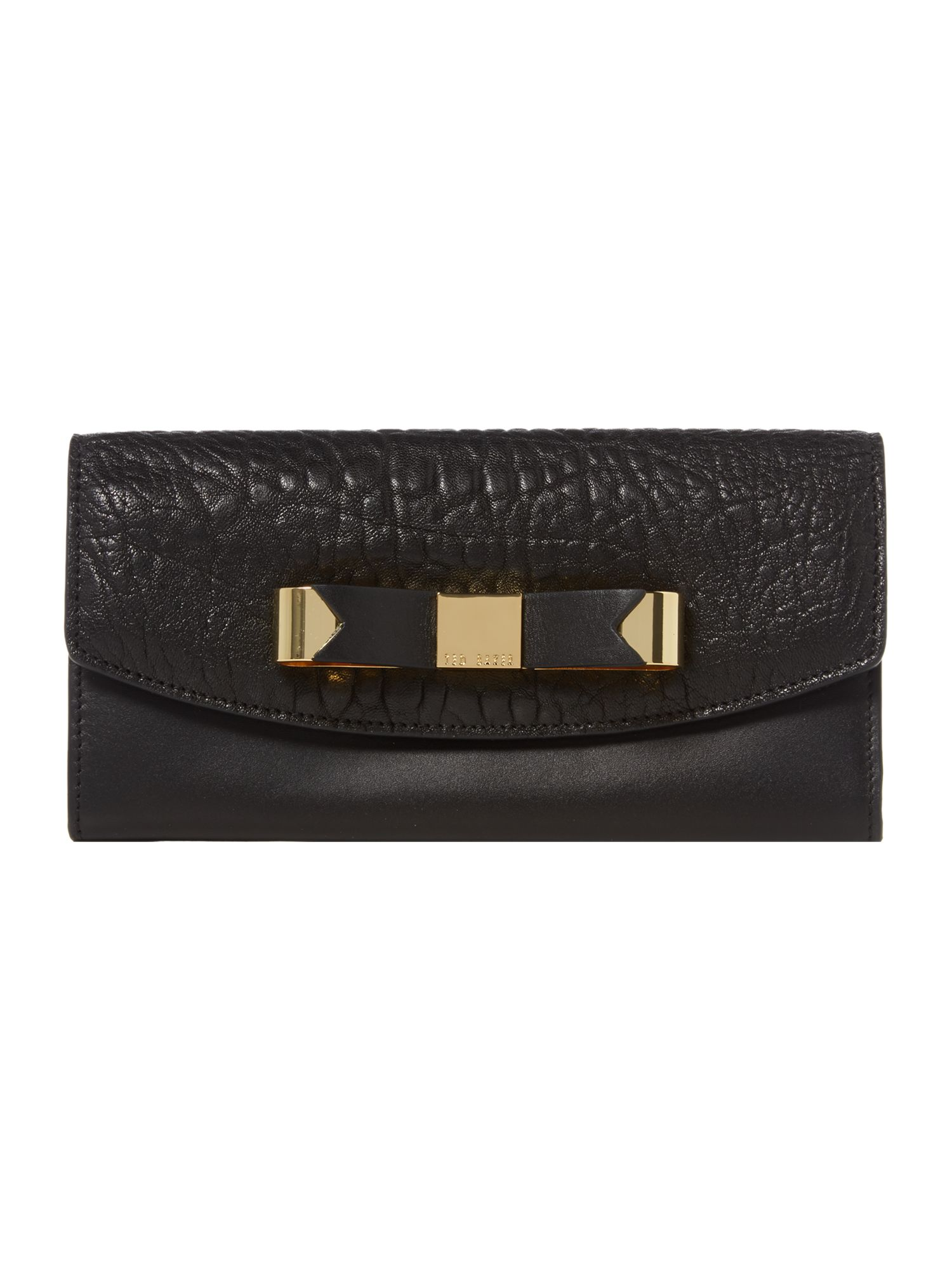 Black bow leather flapover purse