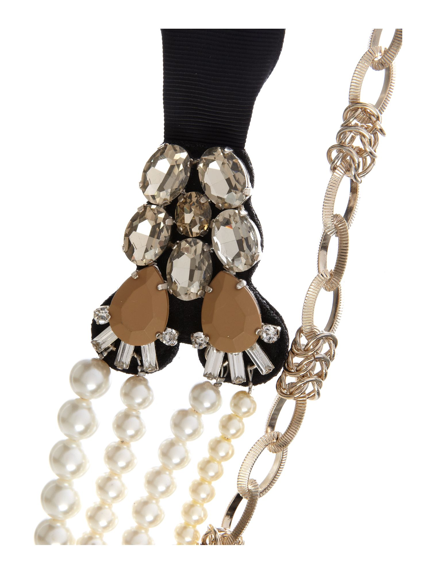 Medea pearl and gold chain necklace