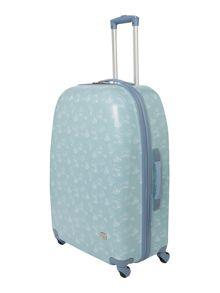 Travel print blue 4 wheel hard large suitcase