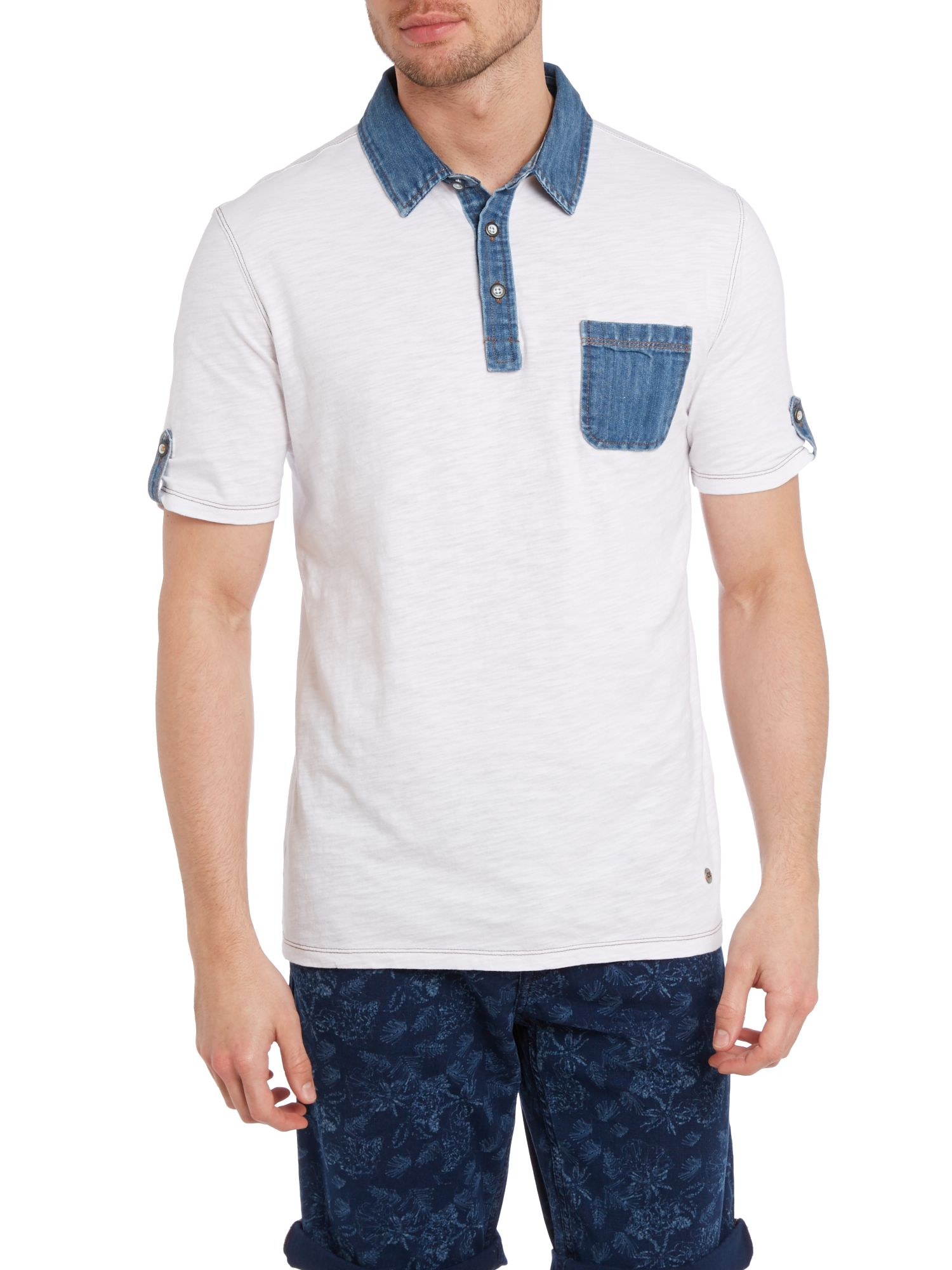 Denim collar polo shirt