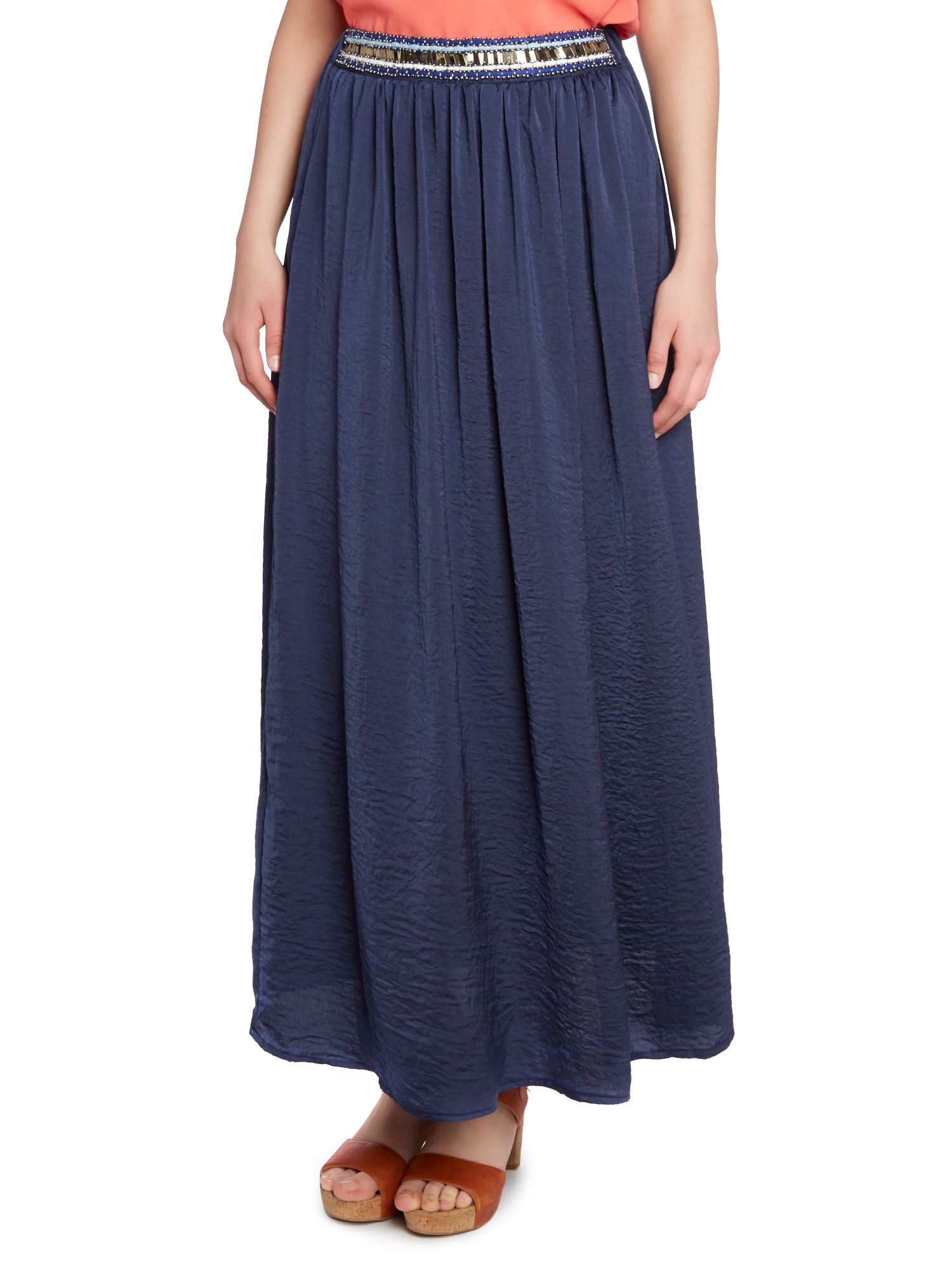 Embroidered waist band maxi skirt