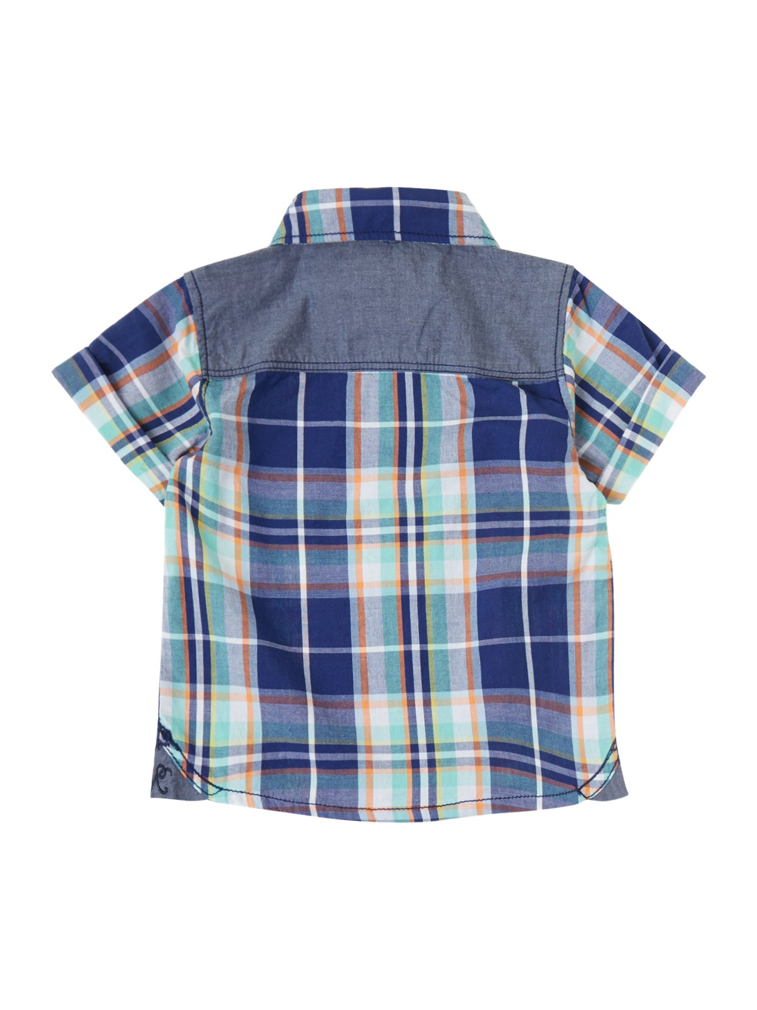 Boys check shirt with turn up sleeve