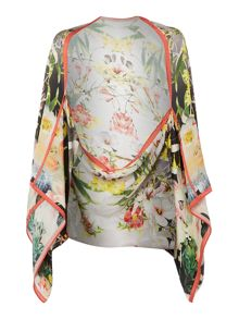Opulent bloom silk cape