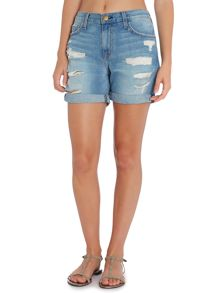 Slouch cut off shorts in tattered destroy