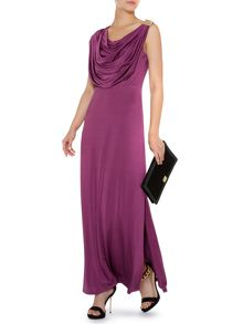 Drape cowl maxi dress with removable broach