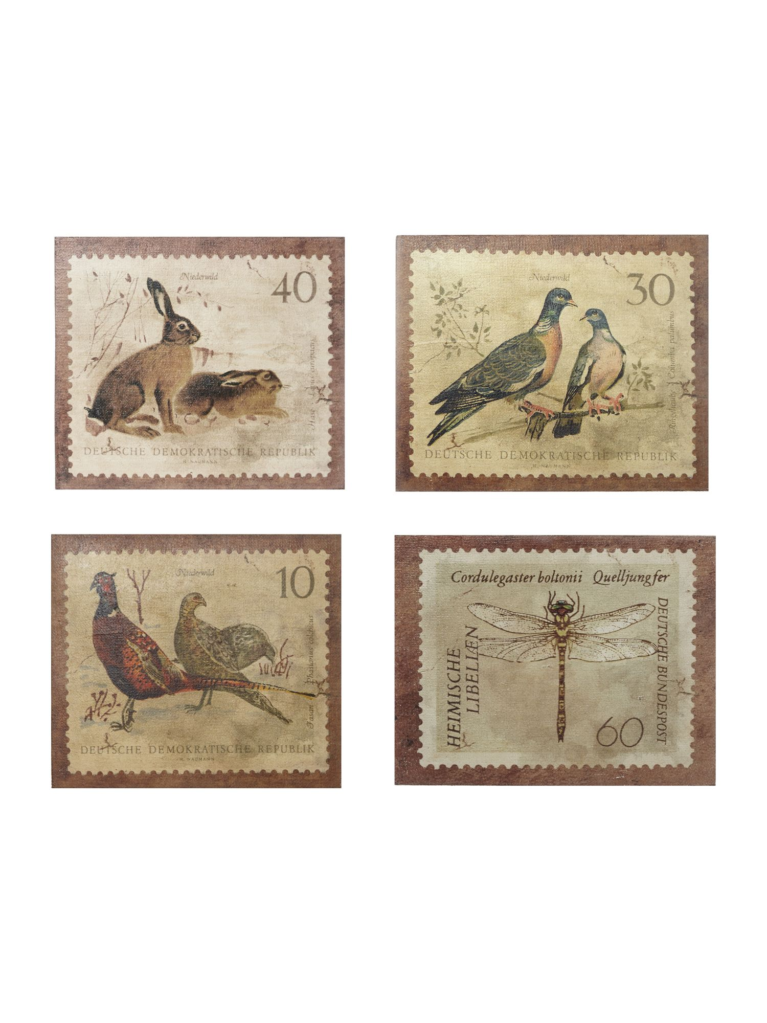 Set of 4 wildlife stamp wall art