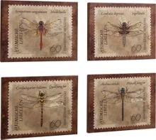 Set of 4 dragonfly burlap canvas
