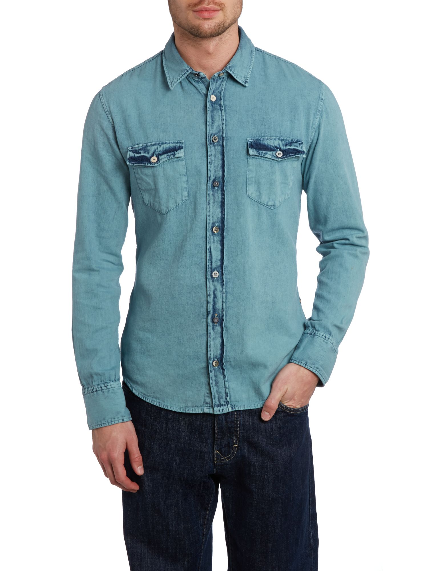 Long sleeve acid wash denim shirt