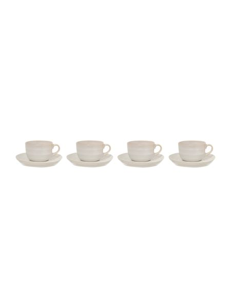 Linea Echo White Cup and Saucer Set of 4