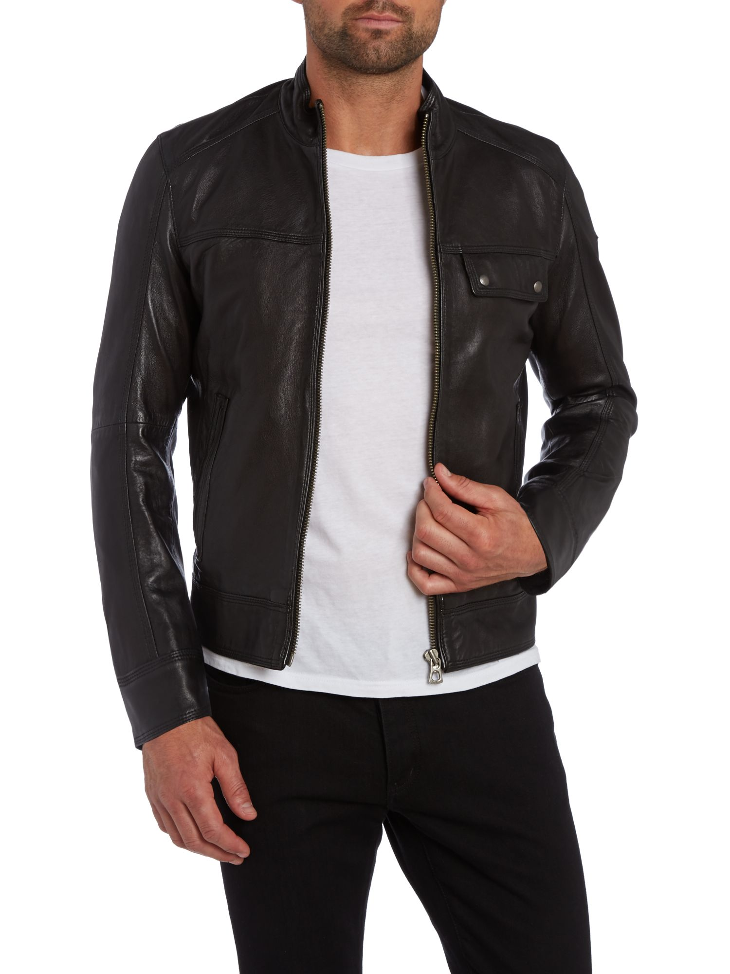 Three pocket leather zip up jacket