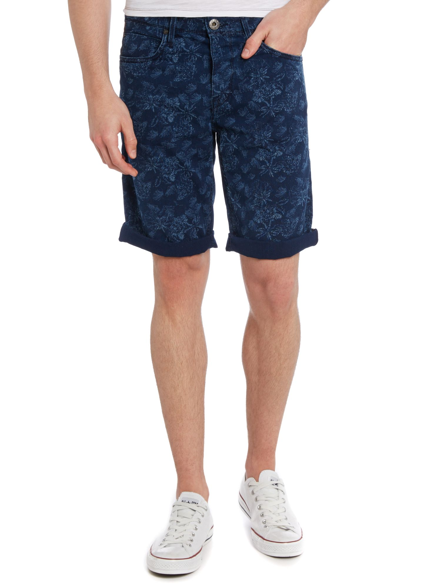 Orange 24 milano wash printed shorts