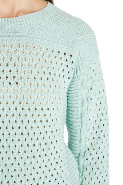 Warehouse Cropped mesh crew jumper