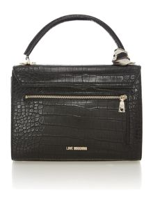 Black croc small flapover cross body