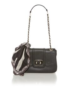 Black scarf small flapover cross body bag