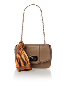 Brown scarf small flapover cross body
