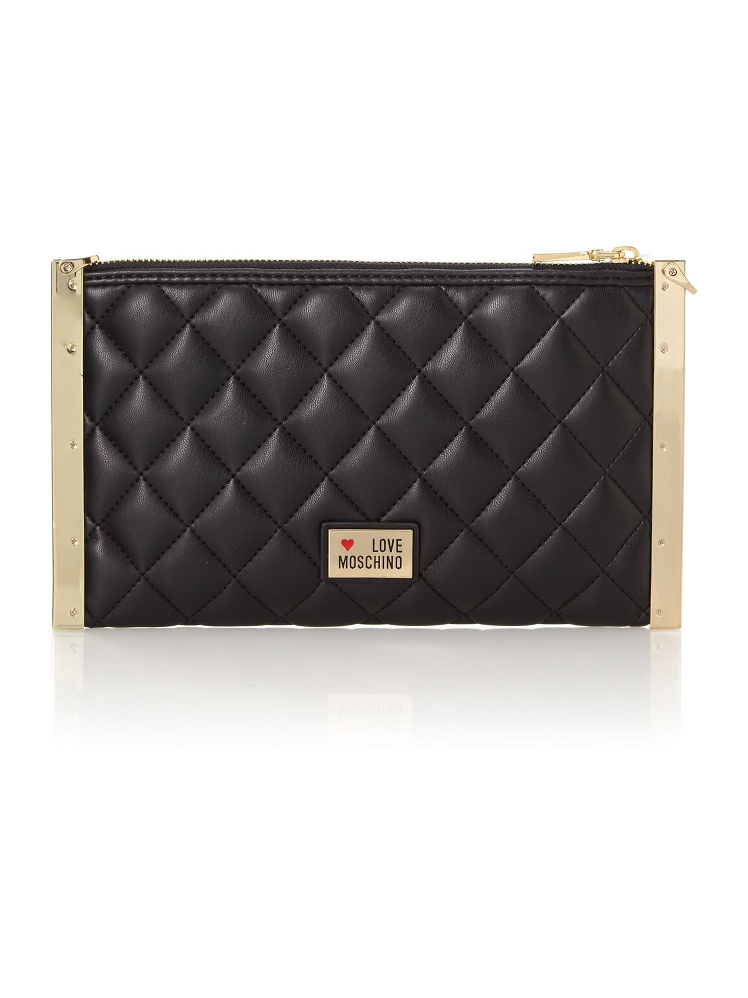 Black small quilt clutch with chain bag