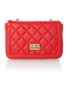 Red mini quilt cross body bag