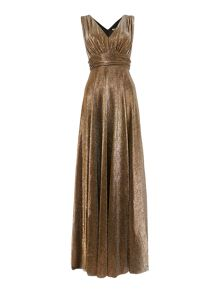 Metallic deep V maxi dress