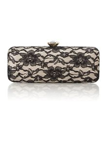 Black evening lace clutch bag