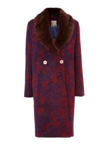 Printed wool mix coat with detachable collar