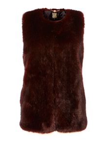 Red faux fur long line gilet
