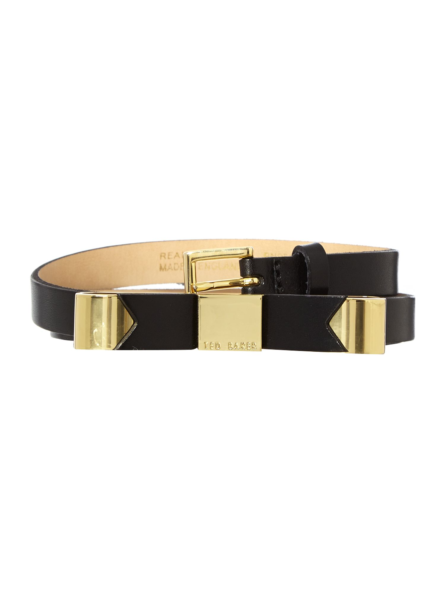 Black skinny bow belt