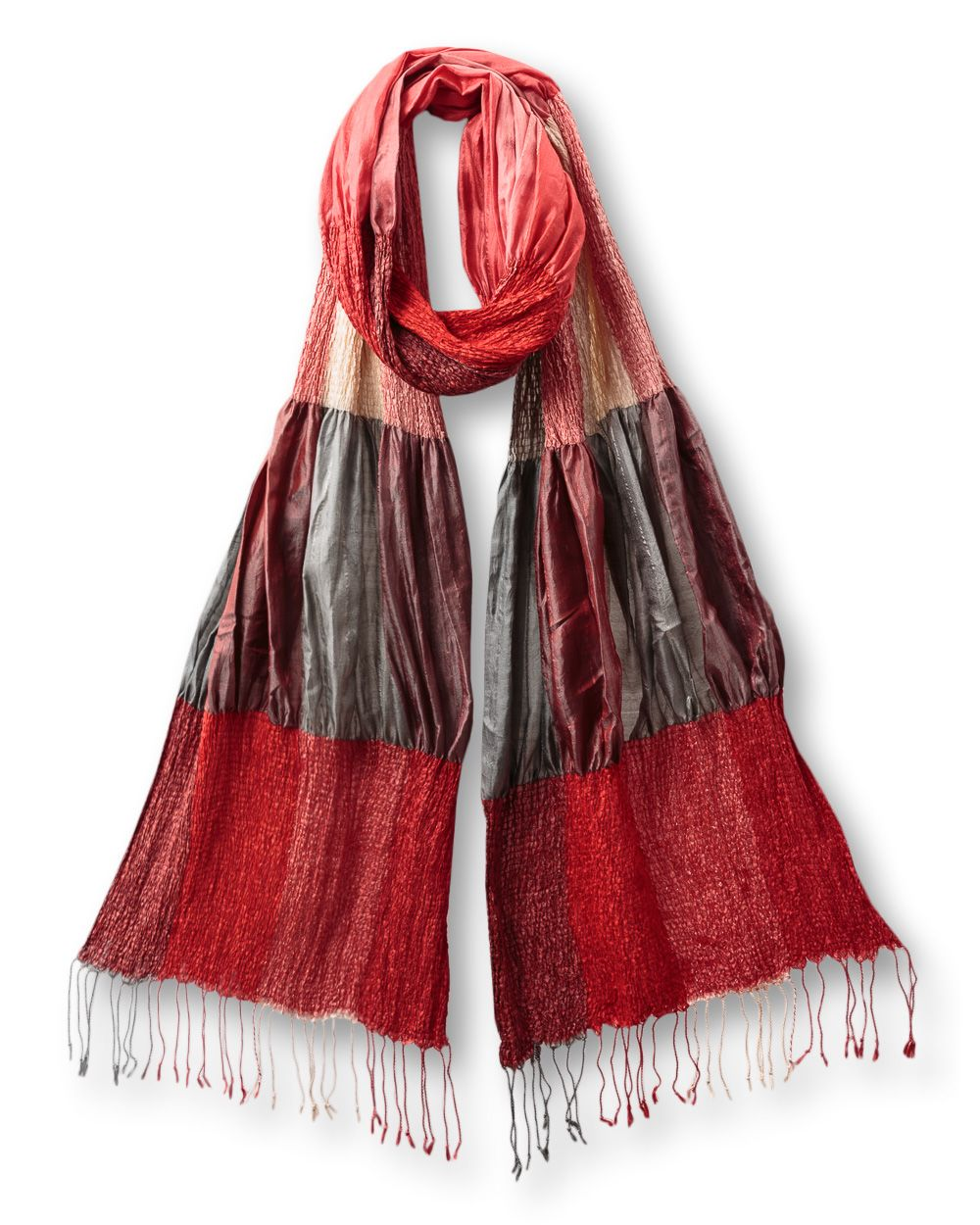 Silk ruched scarf
